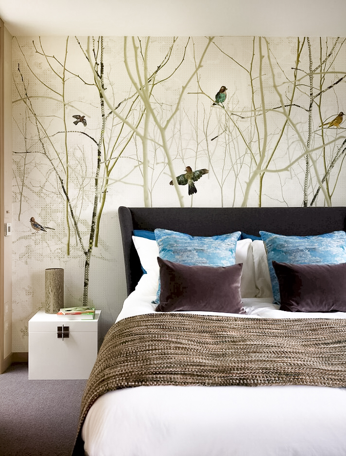 Ensoul Wandsworth Guest Bedroom Wallpaper Mural Birds Upholstered bed Nature inspired