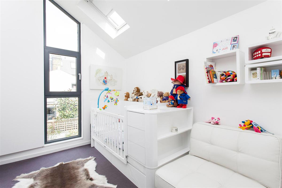 Ensoul Clapham Architect Vaulted Ceiling Nursery Slot Window Cot White Bedroom
