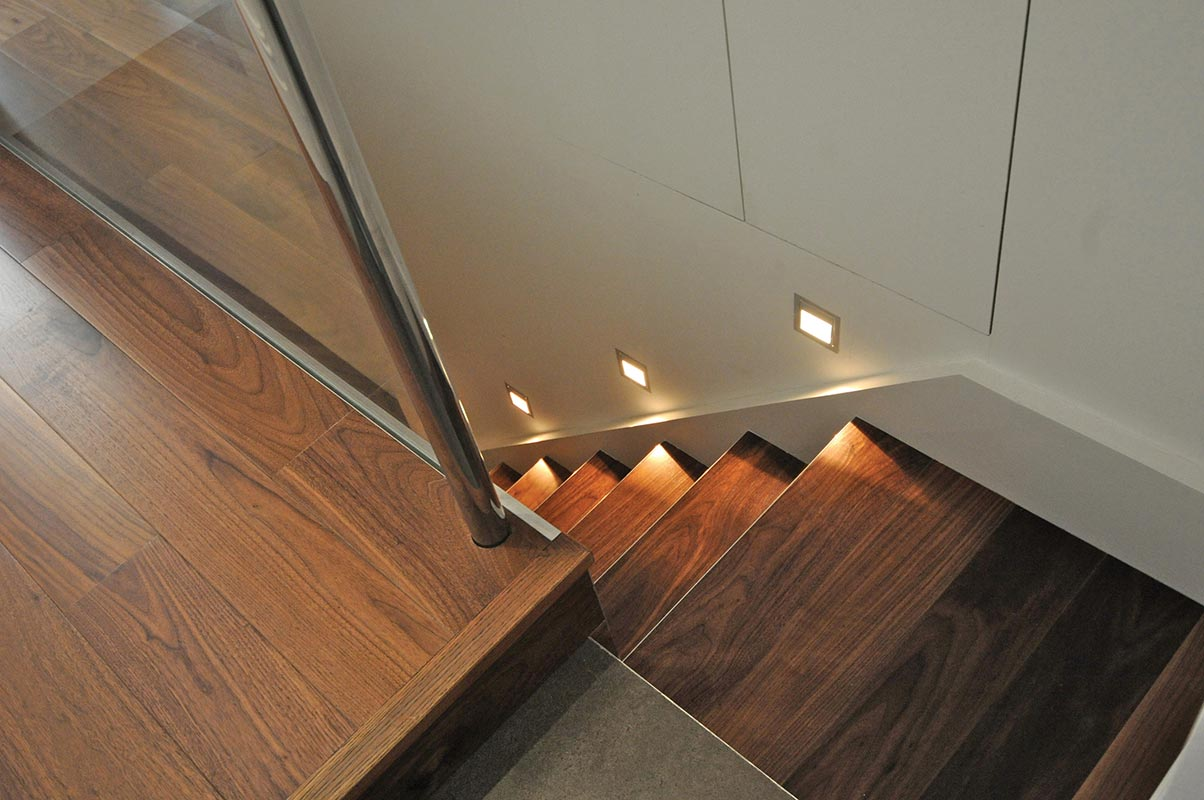 Ensoul Clapham Cellar Conversion Walnut floor Stair lighting