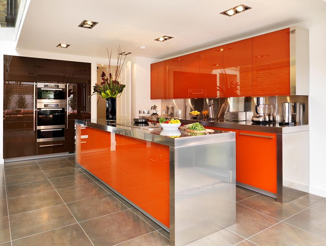 Ensoul Clapham Kitchen Island Stainless Steel Worktop Orange Miele