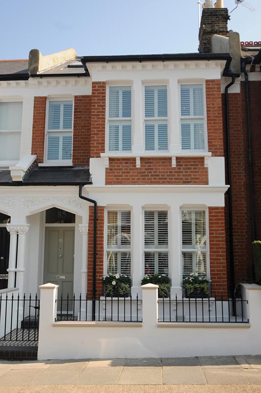 Ensoul Clapham Victorian Terraced House Brick Railings Plantation Shutters