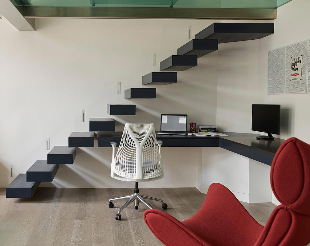 Ensoul Earls Court Home Office Under Stair Storage Cantilever Staircase Built in Desk