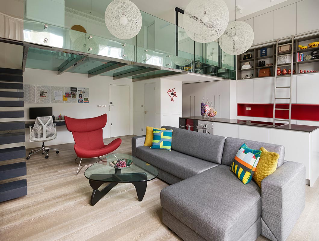 Ensoul Earls Court Luxury Apartment Compact Space Open Plan Living Glass Mezzanine BoConcept Imola chair