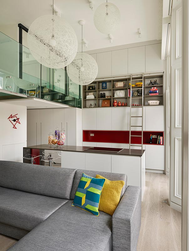 Ensoul Earls Court Luxury Apartment Double height kitchen Roller Ladder Open plan living Moooi