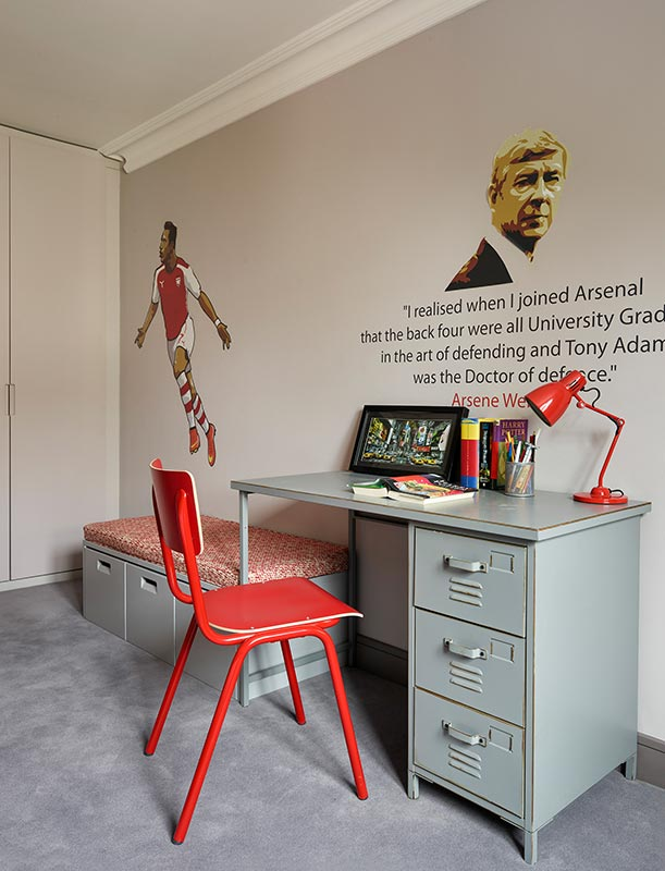 Ensoul Highgate London Kids Bedroom Arsenal Red