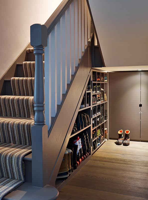 Bespoke Under Stairs Shelving: Industrial Family Home, Highgate