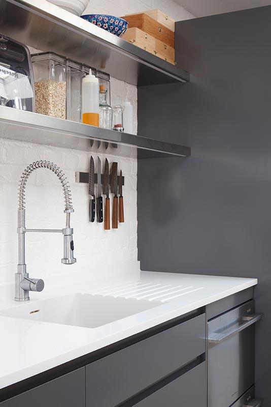 Ensoul PK LO Flat Apartment Bespoke Kitchen Corian worktop grey cabinets Fisher Paykel dishwasher