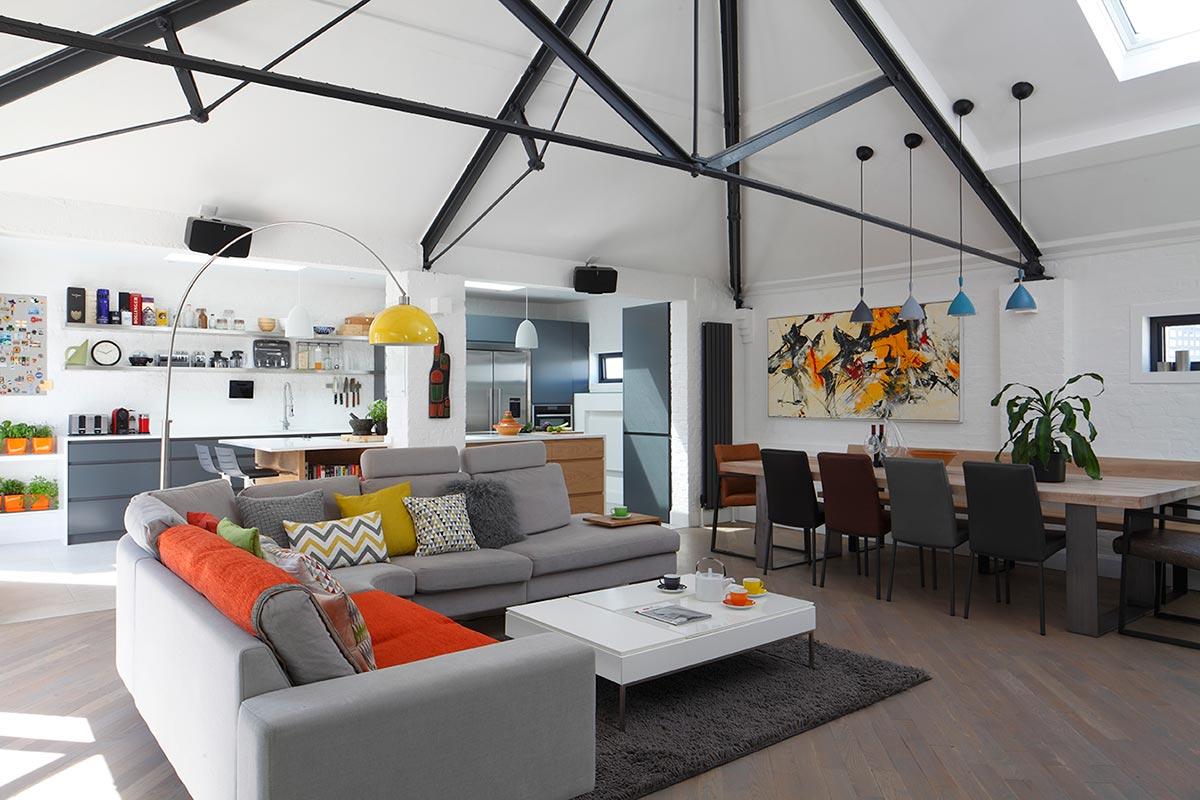 Ensoul PK LO Flat Apartment Steel Girders Open Plan Kitchen Diner Sitting Room