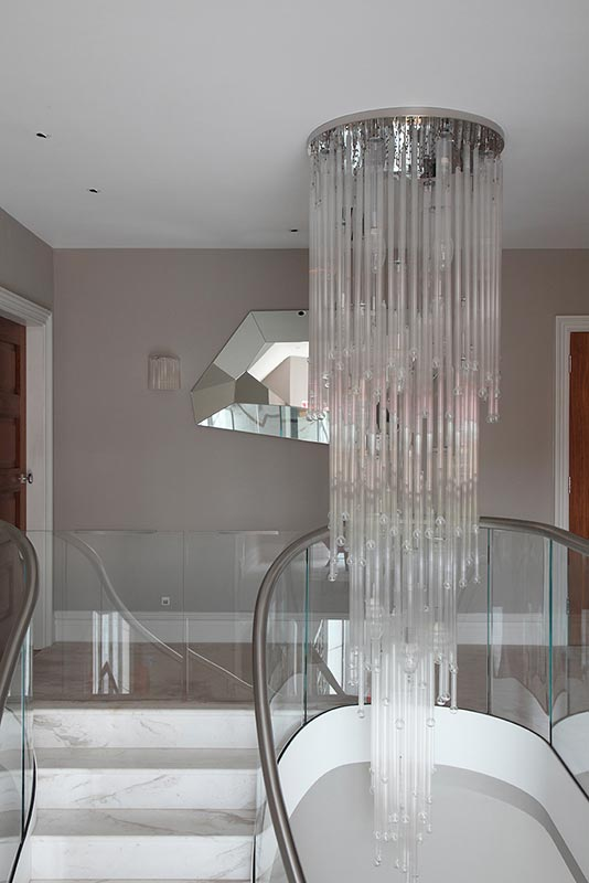 Ensoul Sussex Chandelier Glass Pendant Landing Marble Staircase