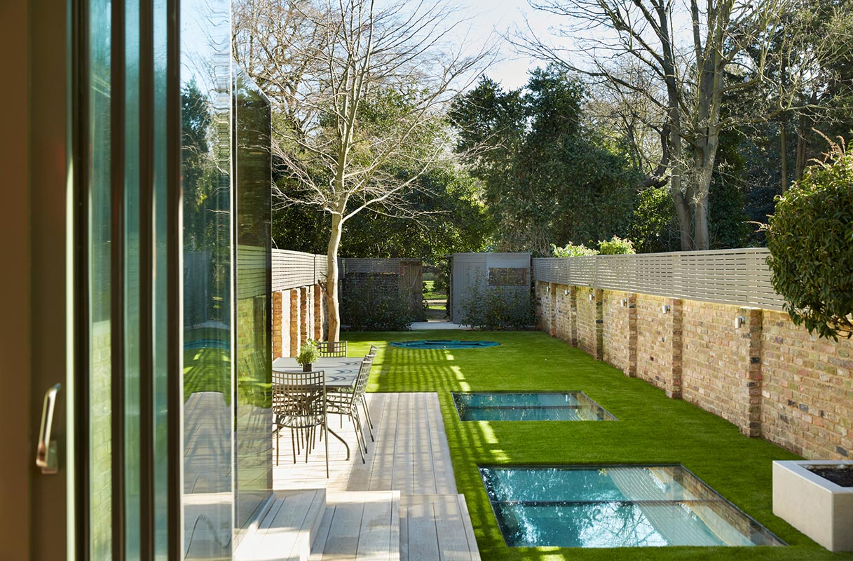Ensoul Wandsworth Bifolds Garden Rooflights Trampoline External Lighting Artificial Grass Decking