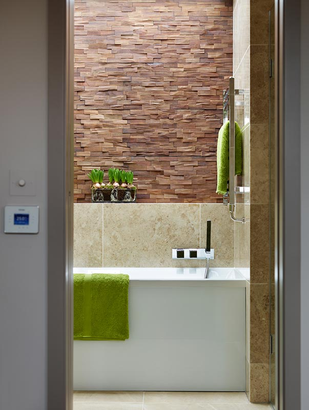 Ensoul Wandsworth Ensuite Bathroom Wood Feature Wall Green Tiling Bath