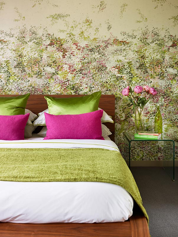 Ensoul Wandsworth Guest Bedroom Pink Green Wallpaper Impressionist Style Walnut bed