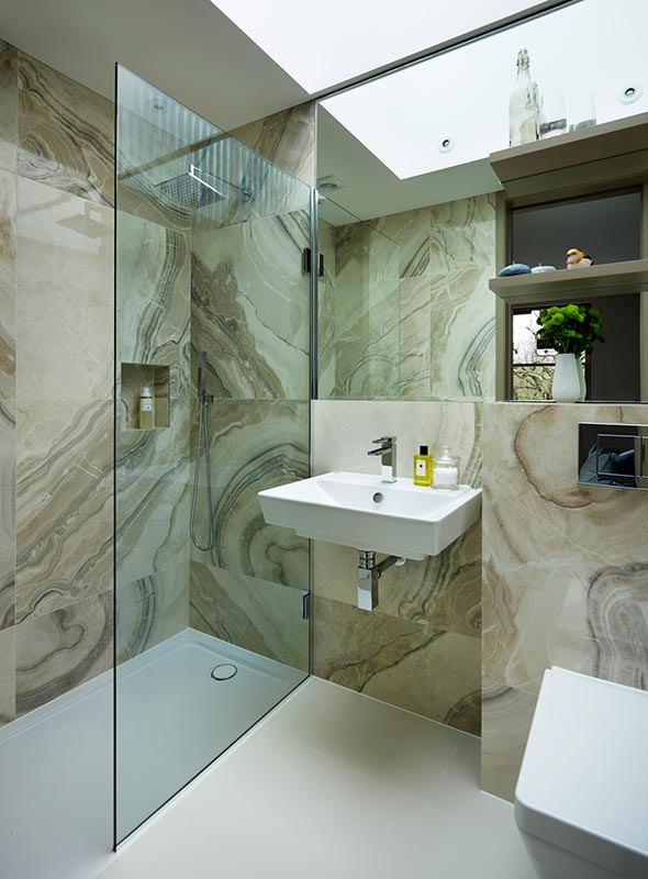 Ensoul Wandsworth Guest Ensuite Bathroom Onyx look tiles Shower Wet Room