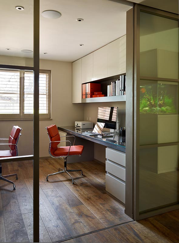 Ensoul Wandsworth Home Office Built in Desk Cabinetry Sliding Doors