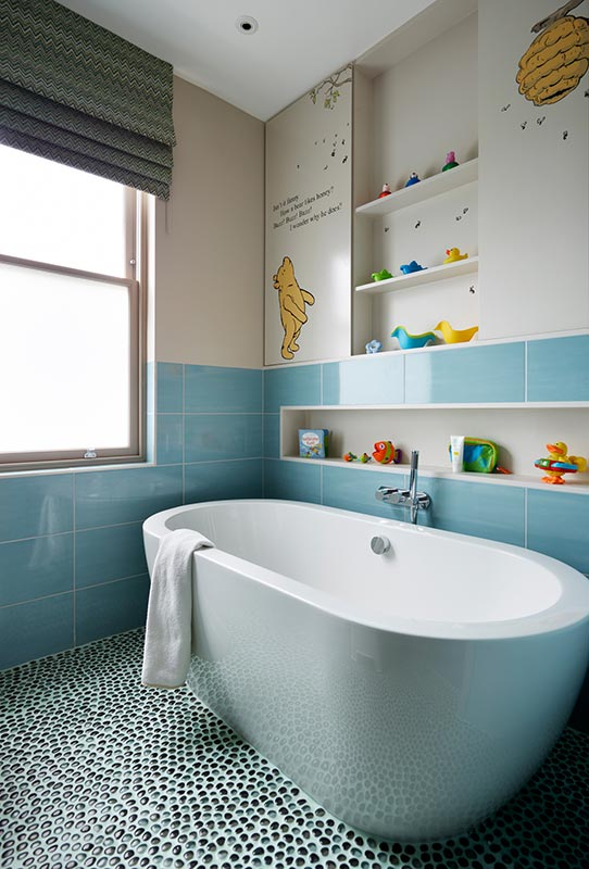Ensoul Wandsworth Kids Bathroom Ensuite Mosaic tile Aquarmarine Bespoke cabinetry