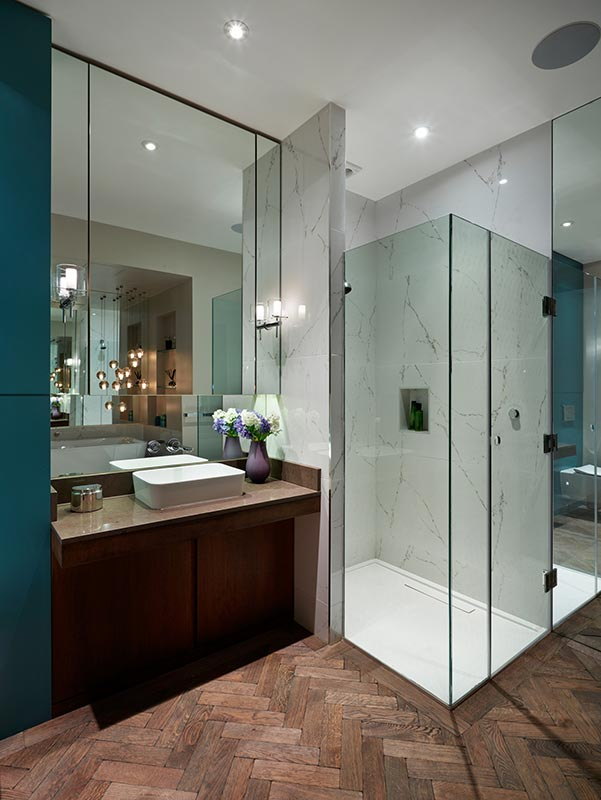 Ensoul Wandsworth Master Ensuite Shower Spa Bathroom Marble tiles Bathroom Vanity Bespoke Cabinetry Oak
