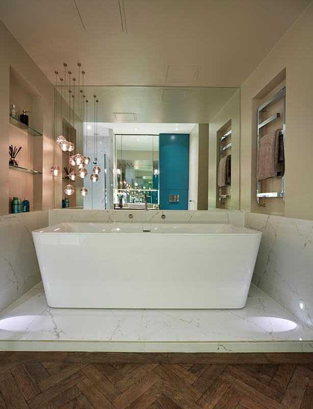 Ensoul Wandsworth Master Ensuite Spa Bathroom Freestanding Bath Pendant lights Marble tiles Timber floor