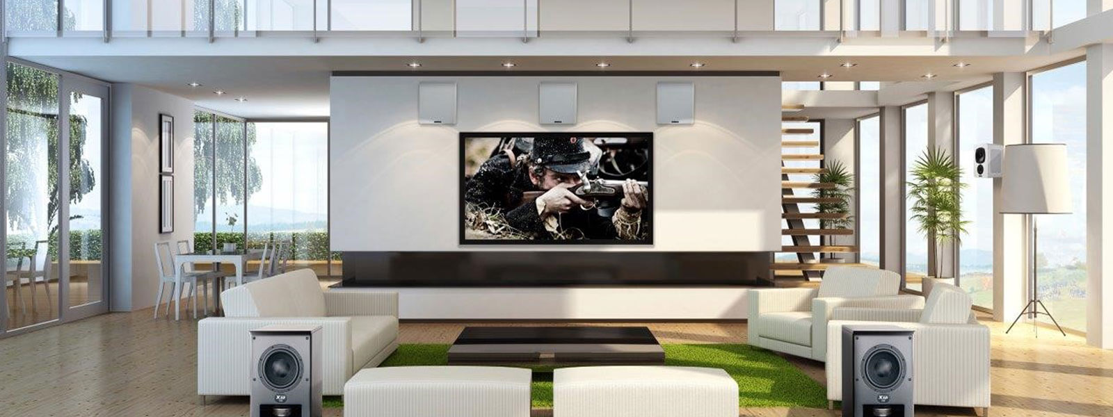 Gecko Home cinema and media room in architectural lounge