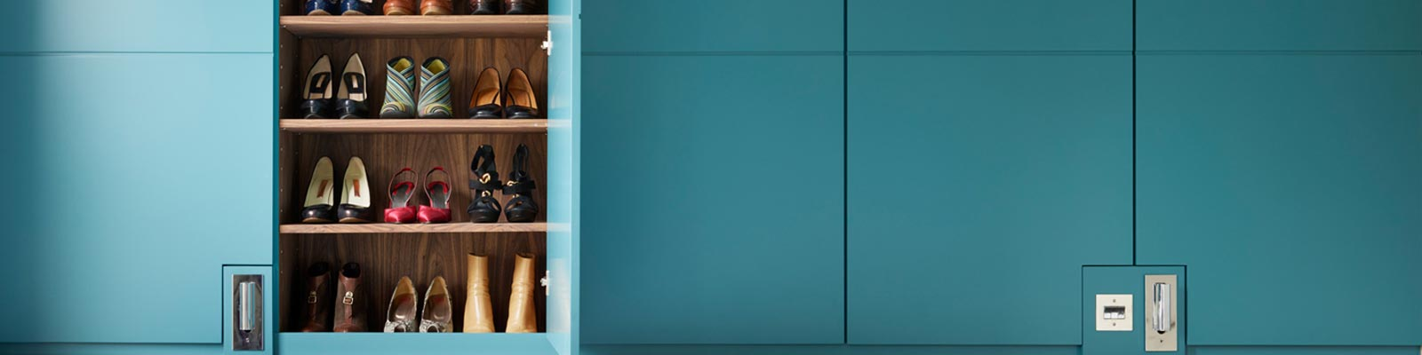 Ensoul WC Built in wardrobes shoe storage bespoke cabinetry walnut teal