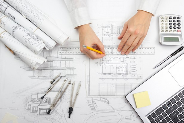 Architect working on blueprint. Architects workplace architectural project, blueprints
