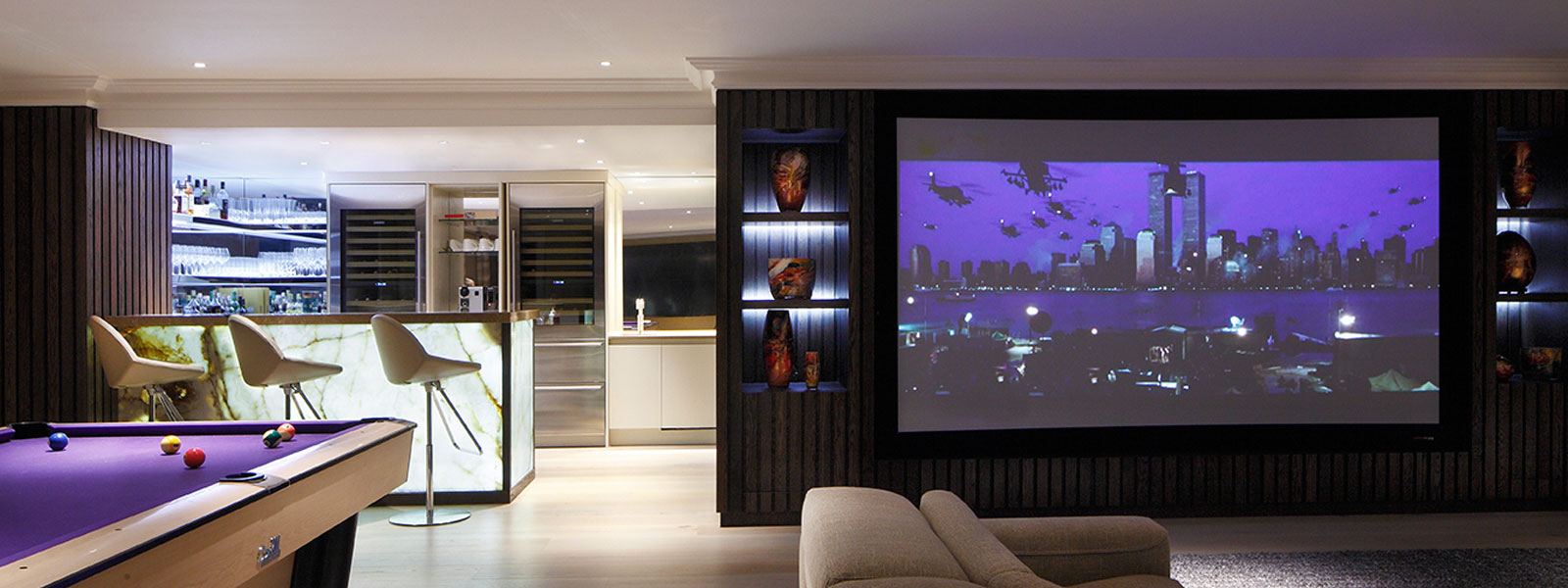 Living Room and Games' Room with bespoke cabinets