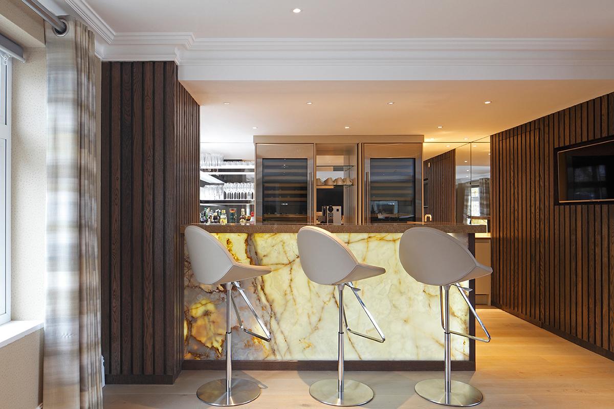 By Ensoul Bespoke Cabinet Onyx bar with oak panelling