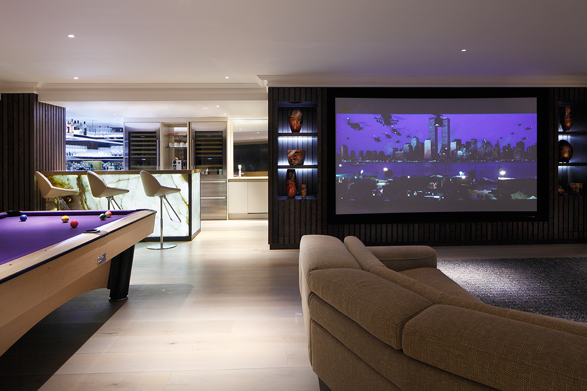 By Ensoul Bespoke cabinet with bar cinema pool-table oak panelling tv media unit