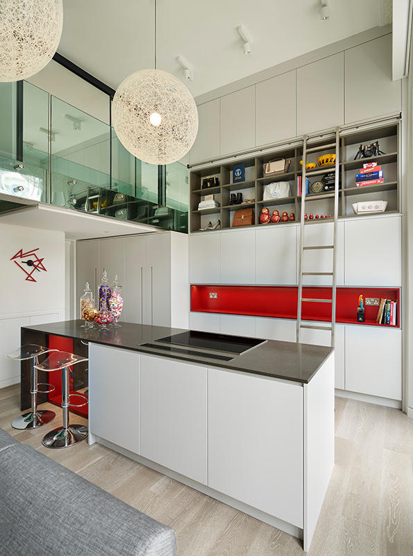 By Ensoul EC Bespoke kitchen double height kitchen kitchen island red