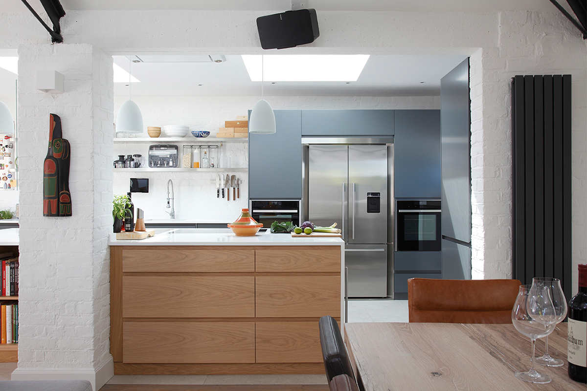 By Ensoul PK Flat Apartment Bespoke Kitchen Oak island Corian Fisher Paykel