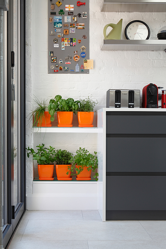 By Ensoul PK LO Flat Bespoke Kitchen Anthracite Cabinetry Herb Garden Plants