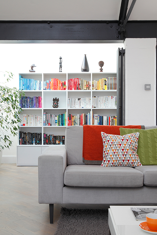By Ensoul bespoke bookcase open shelving sitting room