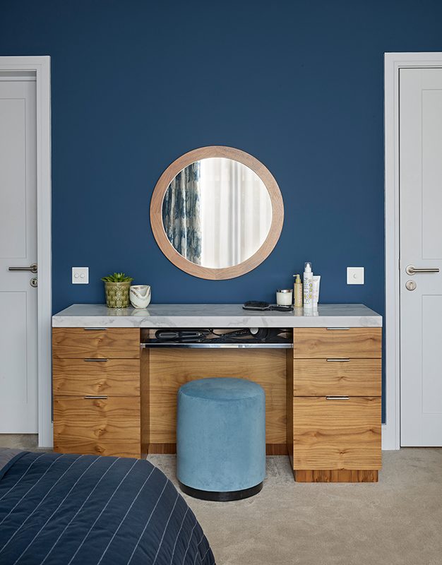By Ensoul Bespoke cabinetry dressing table walnut mirror luxury master bedroom