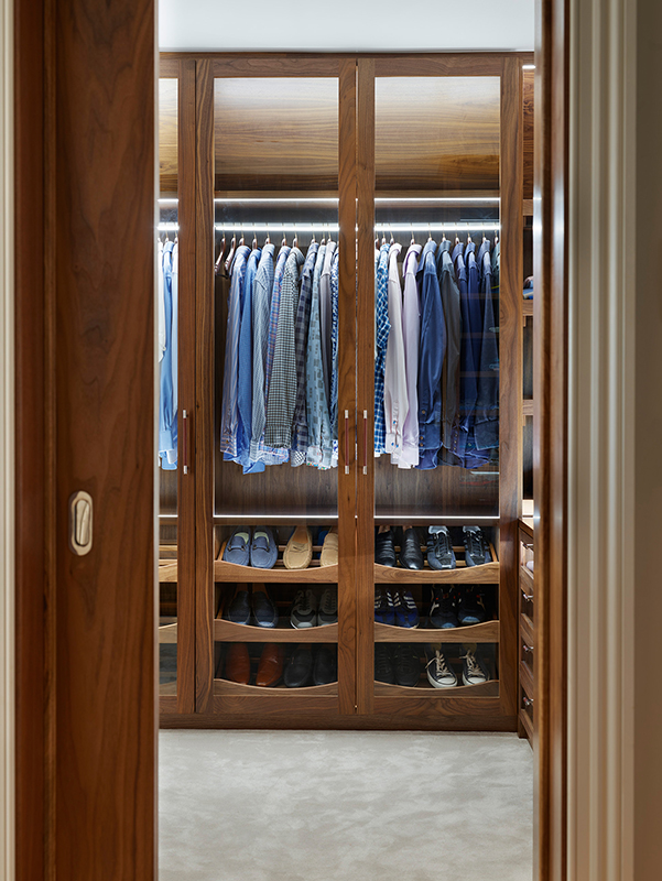 By Ensoul Bespoke Wardrobes Walk in dressing room walnut shoe storage