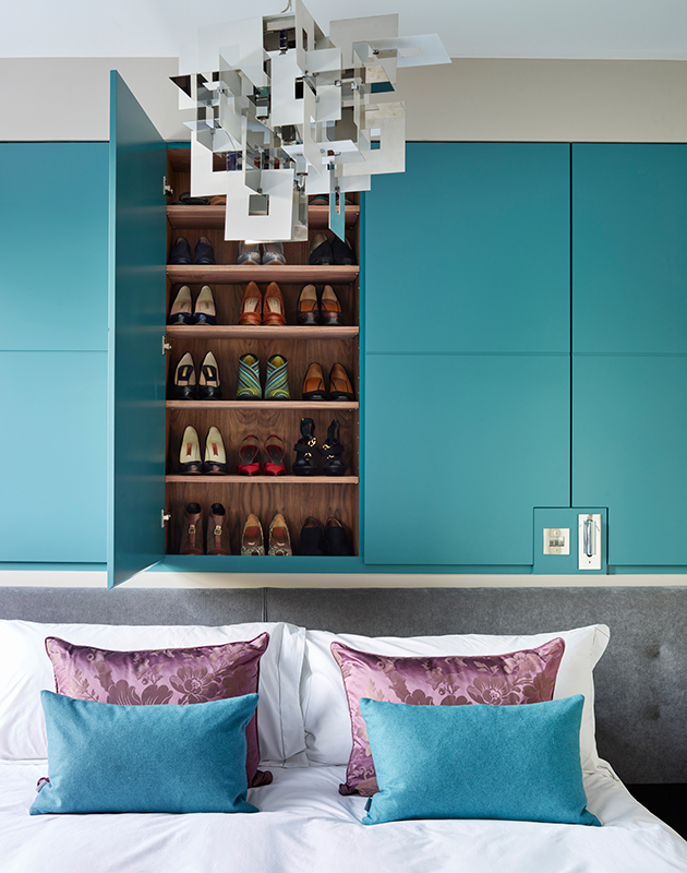By Ensoul bespoke wardrobes shoe storage bespoke cabinetry walnut teal