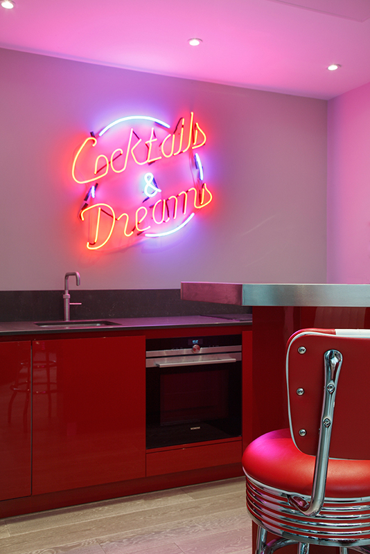 By Ensoul WCNS Bespoke kitchen basement neon sign red caesarstone