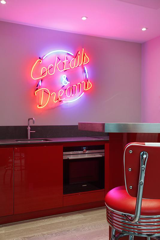 Ensoul basement bar neon sign Cocktails & Dreams