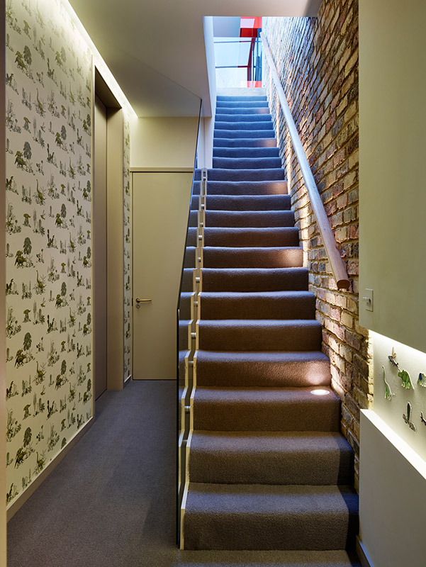 Ensoul-Wandsworth-Architecture-Glass-Box-Basement-Staircase-Exposed-Brick-downstairs